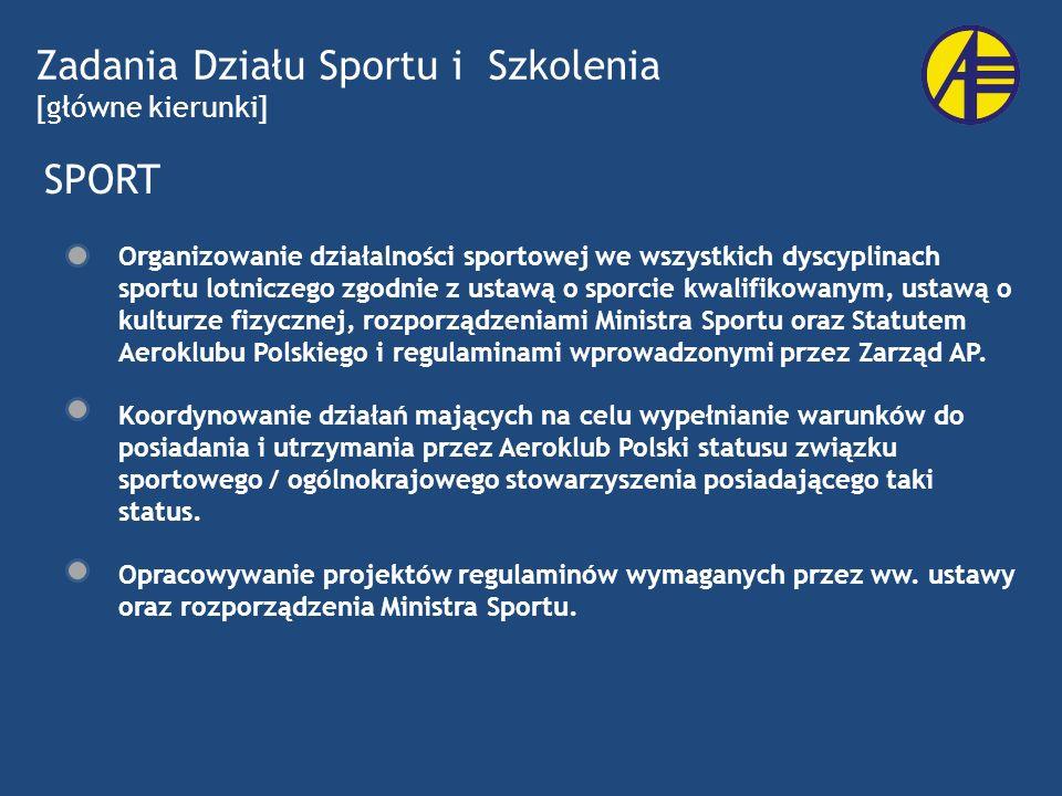 Zadania Działu Sportu i Szkolenia [główne kierunki]